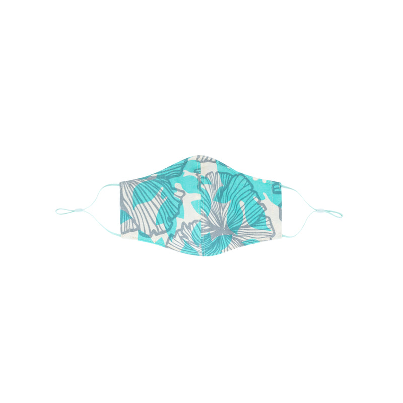 Face Mask • Fitted with Adjustable Elastic • Gray and Ocean Seaflower