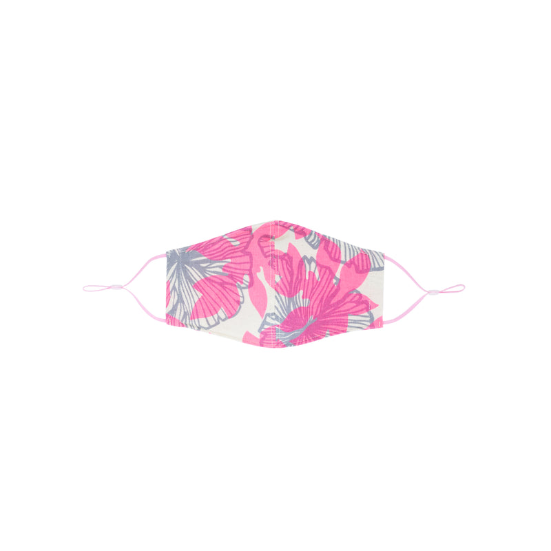 Face Mask • Fitted with Adjustable Elastic • Gray and Hot Pink Seaflower