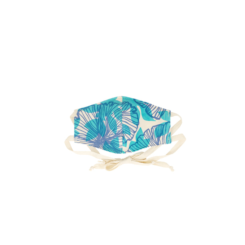 Face Mask • Fitted with Ties • Blue and Teal Seaflower
