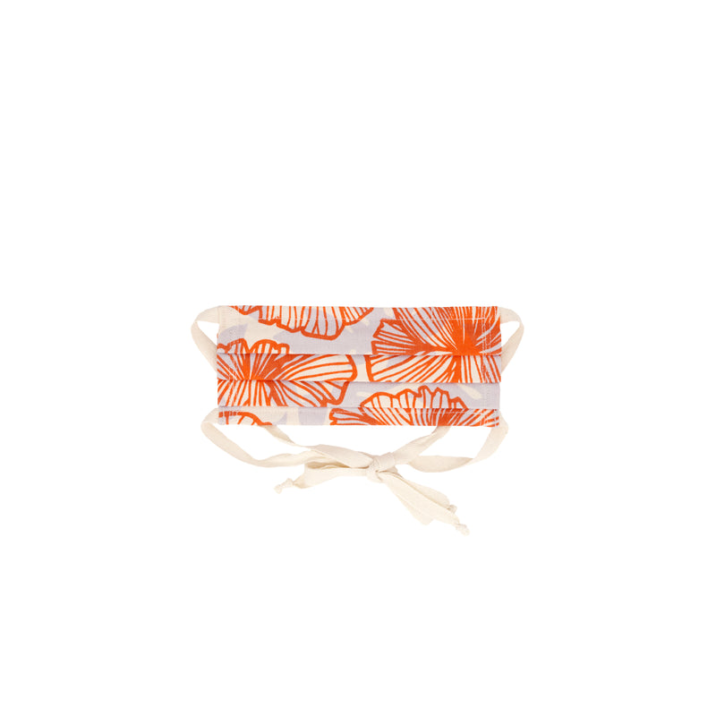 Face Mask • Pleated with Ties • Red Orange Seaflower