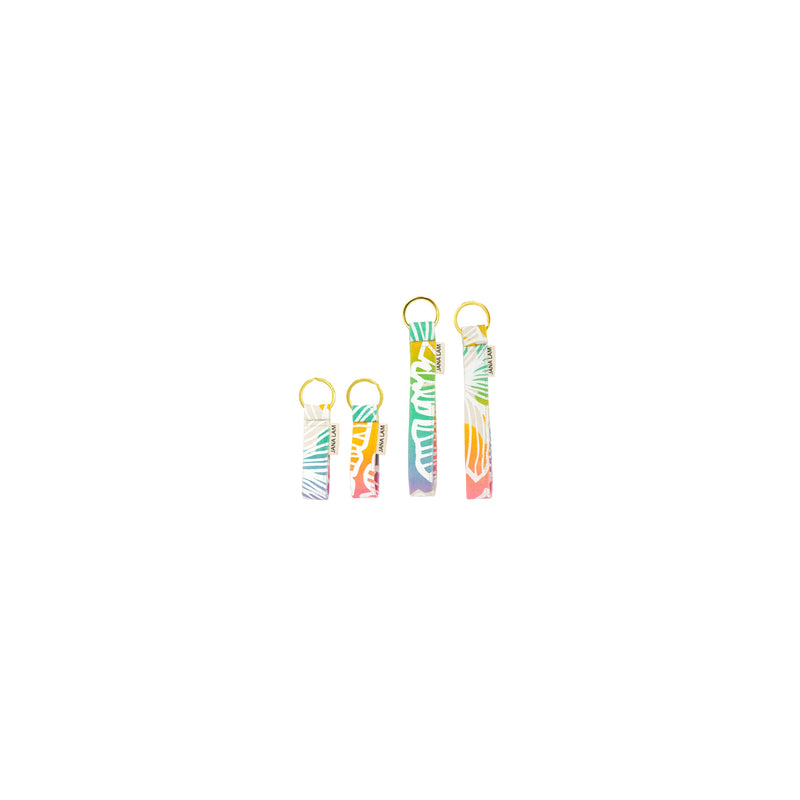 Keychains • Seaflower • White offset over Rainbow Ombre