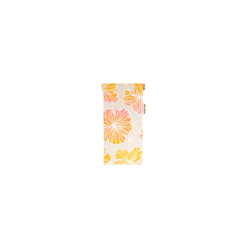 Sunglass Case • Hibiscus • White over Pink, Orange, and Marigold Ombre