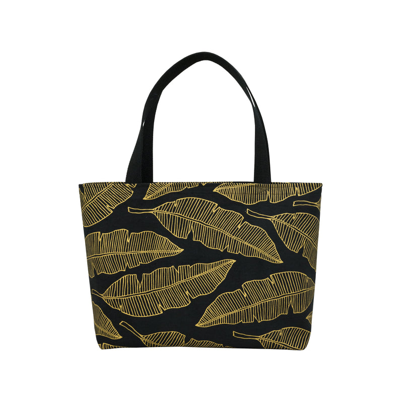 Beach Bag Tote • Banana Leaf • Gold on Black Fabric