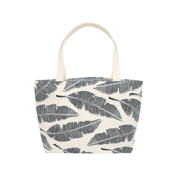 Beach Bag Tote • Banana Leaf • White over Black on Natural