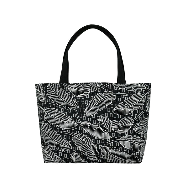 Beach Bag Tote • Jungle City • White on Black Fabric