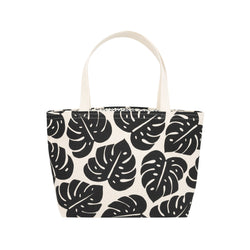 Beach Bag Tote • Monstera Shadow • Black on Natural Fabric