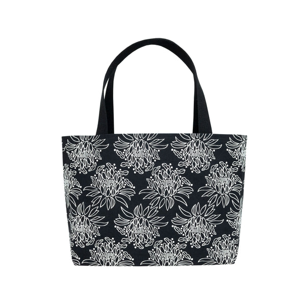 Beach Bag Tote • Night Blooming Cereus • White on Black Fabric