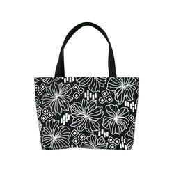 Beach Bag Tote • Retro Blooms • White on Black Fabric