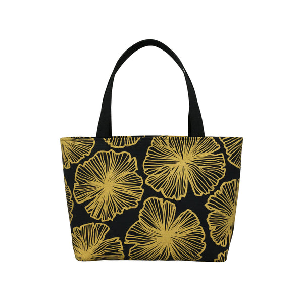 Beach Bag Tote • Seaflower • Gold on Black Fabric