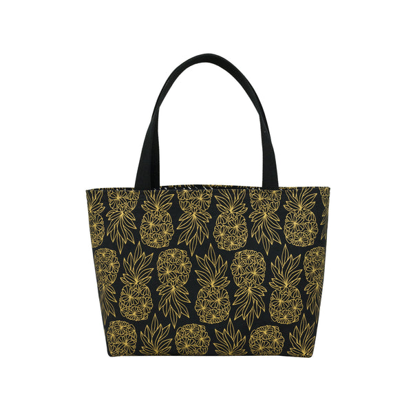 Beach Bag Tote • Seaflower Pineapple • Gold on Black Fabric