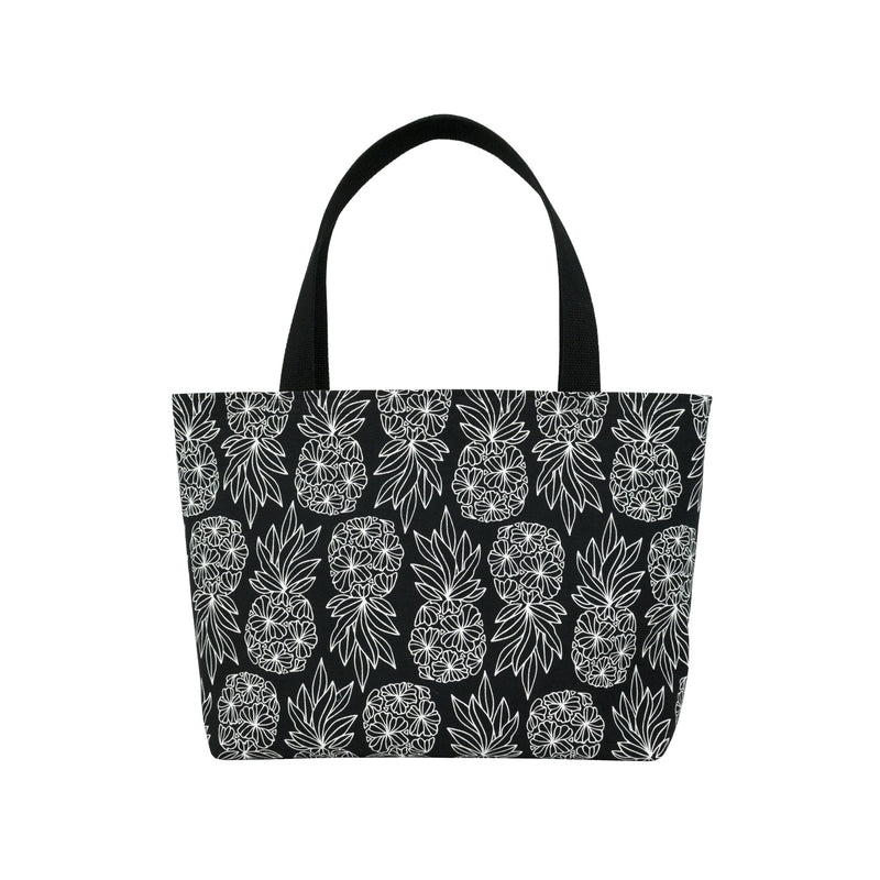 Beach Bag Tote • Seaflower Pineapple • White on Black Fabric