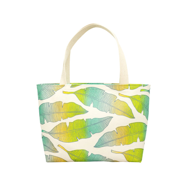 Beach Bag Tote • Banana Leaf • Silver over Aqua Lime and Tangerine Ombre