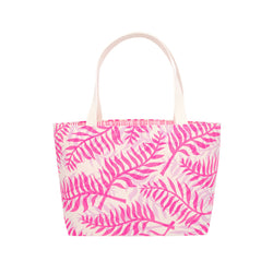 Beach Bag Tote • Double Palm • Hot Pink over Lavender