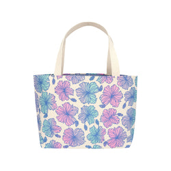 Beach Bag Tote • Hibiscus • Blue over Lavender, Pink, and Mint Ombre