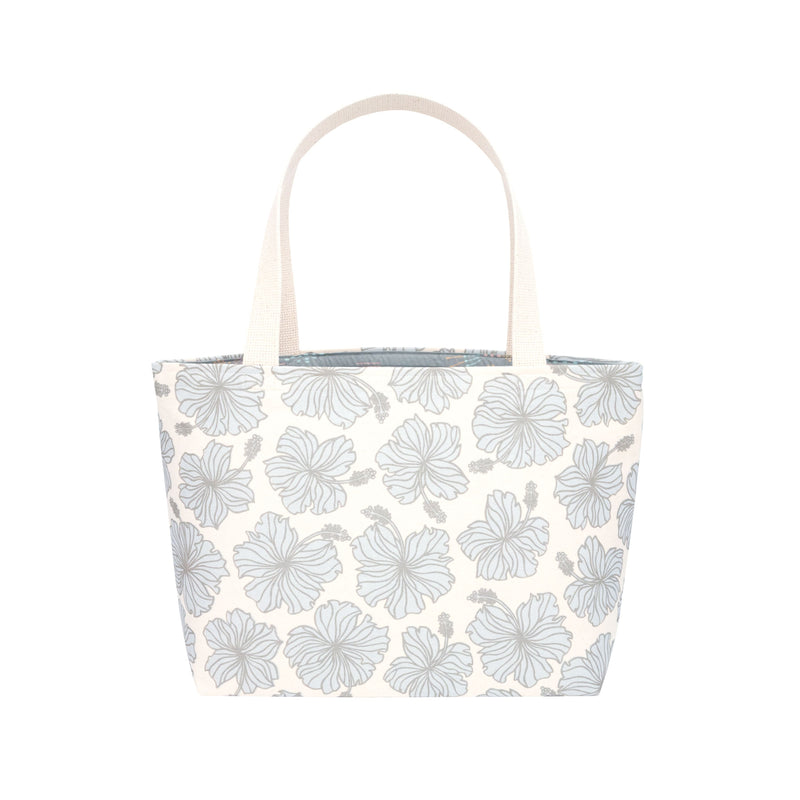 Beach Bag Tote • Hibiscus • Metallic Silver over Pale Blue