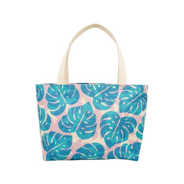 Beach Bag Tote • Monstera and Papaya Leaf Shadow • Blue over Lavender