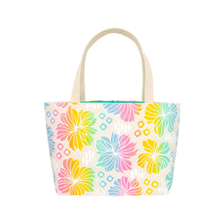 Beach Bag Tote • Retro Blooms • White over Rainbow Ombre