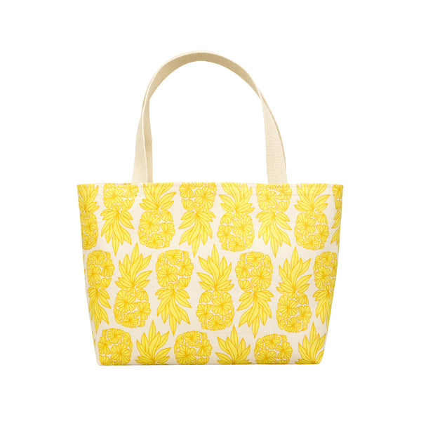 Beach Bag Tote • Seaflower Pineapple • Gold over Yellow
