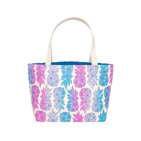 Beach Bag Tote • Seaflower Pineapple • Navy over Fuchsia Blue and Gray Ombre