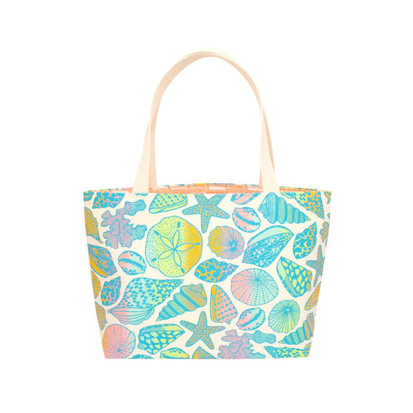 Beach Bag Tote • Seashells• Blue over Rainbow Ombre