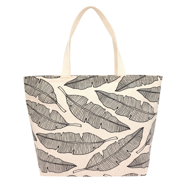 Everything Tote • Banana Leaf • Black on Natural Fabric