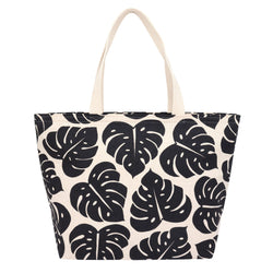 Everything Tote • Monstera Shadow • Black on Natural Fabric