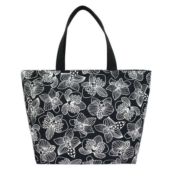 Everything Tote • Orchid • White on Black Fabric