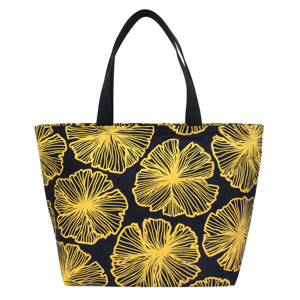 Everything Tote • Seaflower • Gold on Black Fabric
