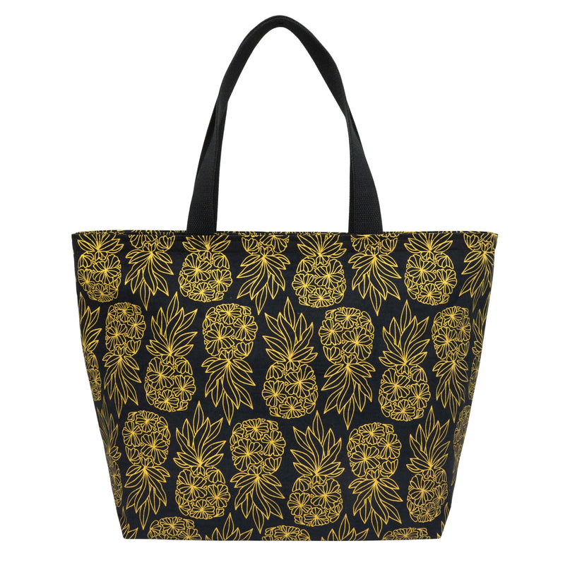 Everything Tote • Seaflower Pineapple • Gold on Black Fabric