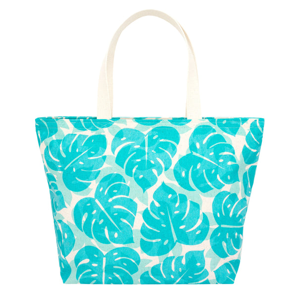 Everything Tote • Monstera Papaya Shadow • Turquoise over Mint