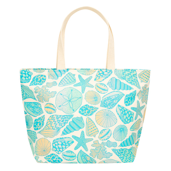 Everything Tote • Seashells • Teal over Ocean and Sand Ombre