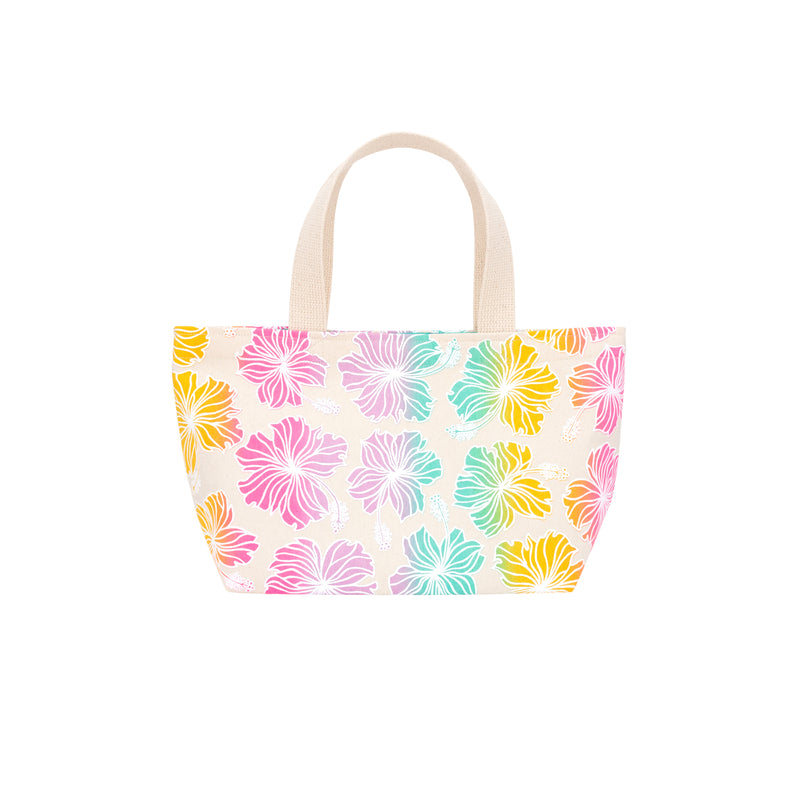 Mini Beach Bag Tote • Hibiscus • White over Rainbow Ombre