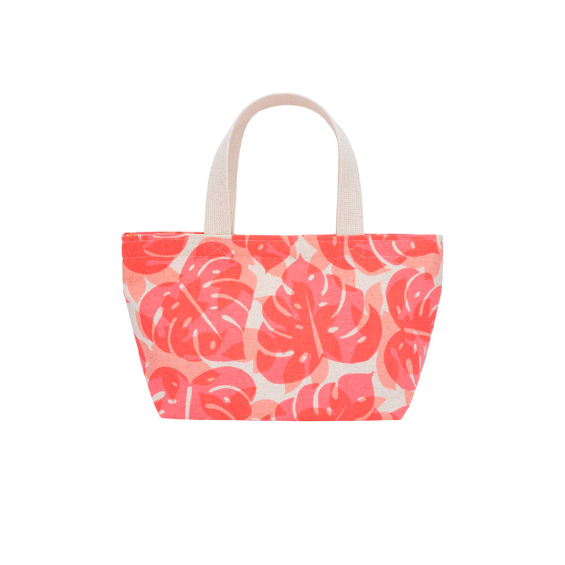 Mini Beach Bag Tote • Monstera and Papaya Shadow • Fluorescent Coral over Peach