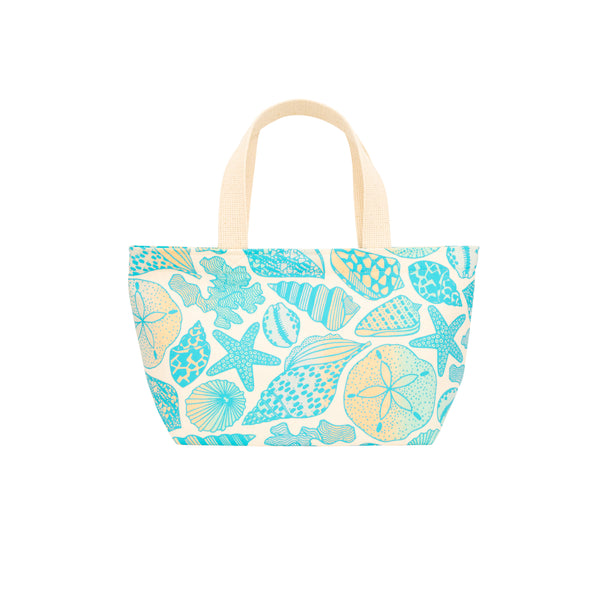 Mini Beach Bag Tote • Seashells • Teal over Ocean and Sand Ombre