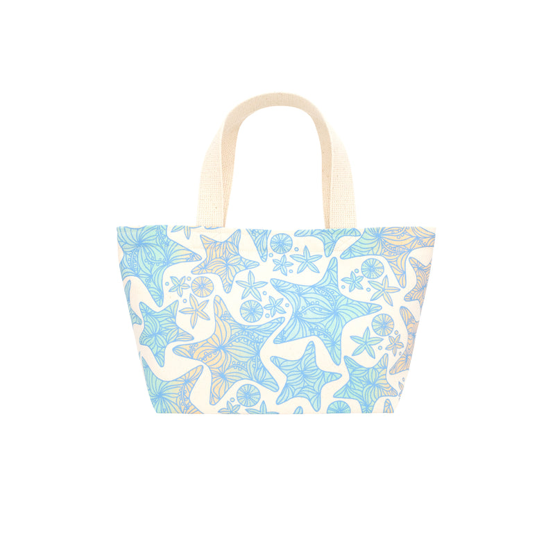 Mini Beach Bag Tote • Starfish • Blue over Ocean and Sand Ombre