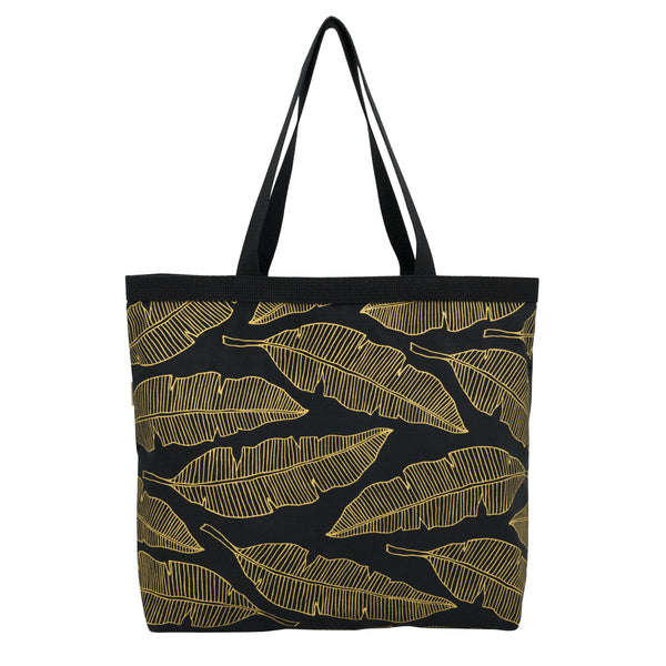 Shopper's Tote • Banana Leaf • Gold on Black Fabric