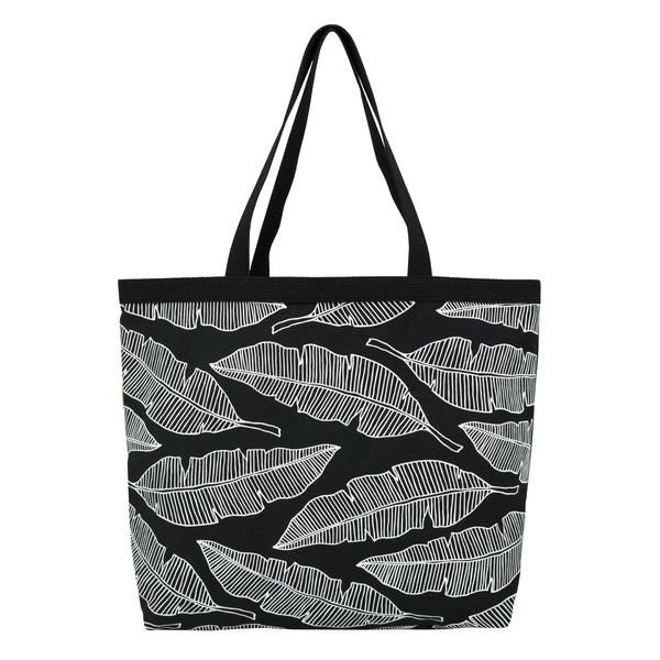 Shopper's Tote • Banana Leaf • White on Black Fabric