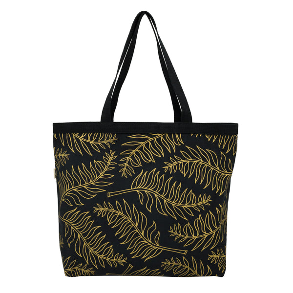Shopper's Tote • Palm • Gold on Black Fabric