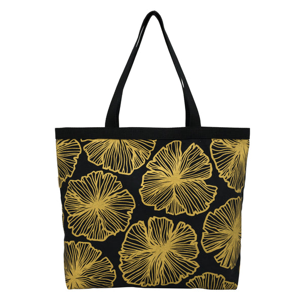 Shopper's Tote • Seaflower • Gold on Black Fabric