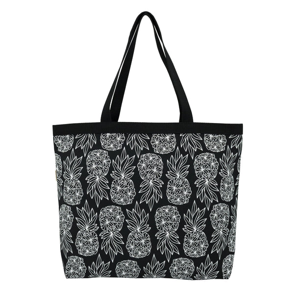 Shopper's Tote • Seaflower Pineapple • White on Black Fabric
