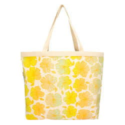 Shopper's Tote • Hibiscus • Gold over Lime, Mint, Tangerine, and Gray Ombre