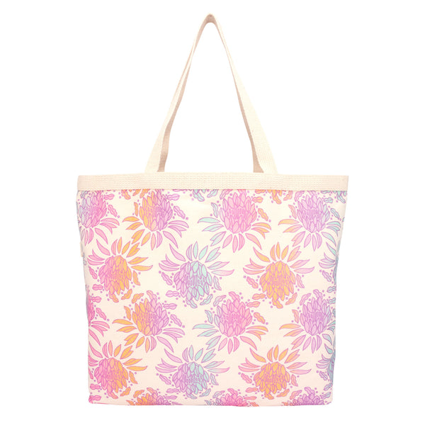 Shopper's Tote • Night Blooming Cereus • Metallic Plum over Pink, Mint, Lavender, and Tangerine Ombre