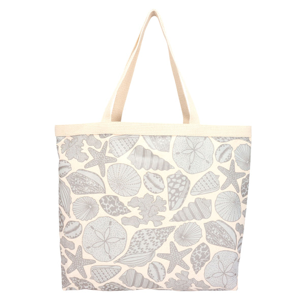 Shopper's Tote • Seashells • Metallic Gray over Icy Blue