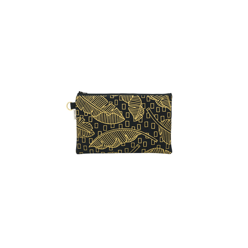 Classic Zipper Clutch • Jungle City • Gold on Black Fabric
