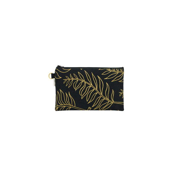 Classic Zipper Clutch • Palm • Gold on Black Fabric