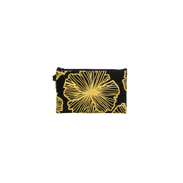 Classic Zipper Clutch • Seaflower • Gold on Black Fabric