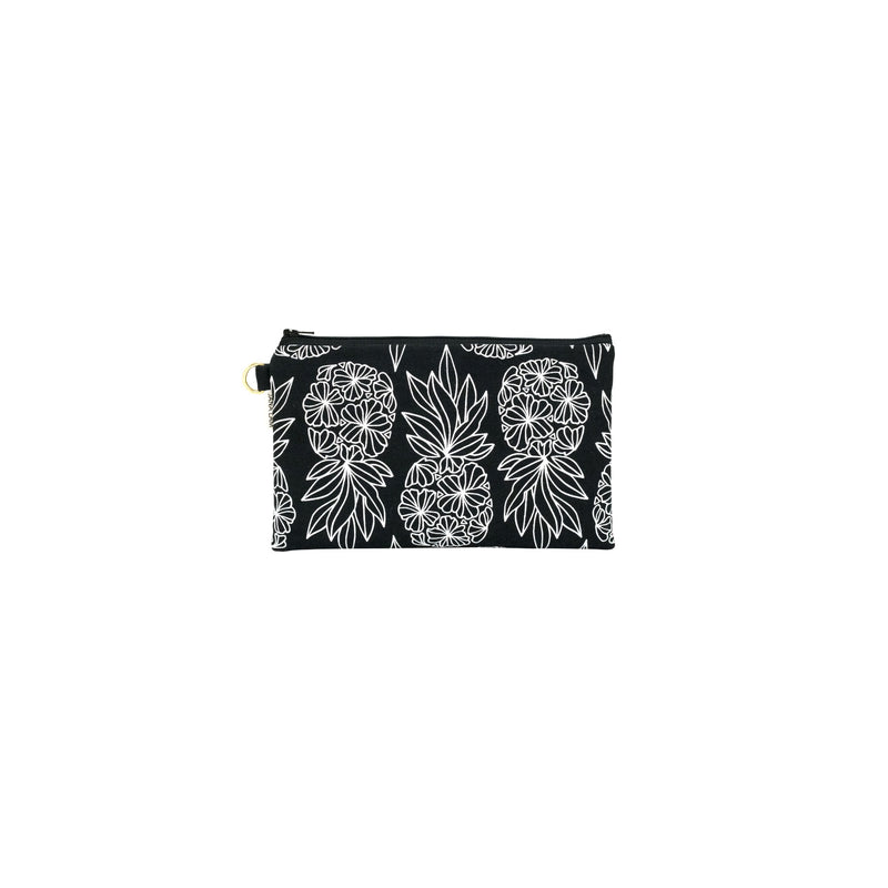 Classic Zipper Clutch • Seaflower Pineapple • White on Black Fabric