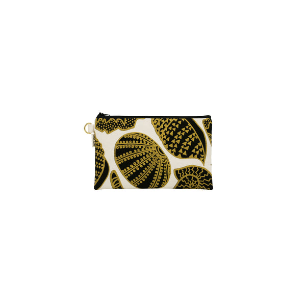 Classic Zipper Clutch • Shellini • Gold over Black on Natural