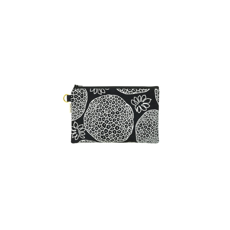Classic Zipper Clutch • Ulu • White over Black Fabric