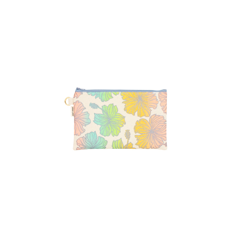 Classic Zipper Clutch • Hibiscus • Silver over Rainbow Ombre